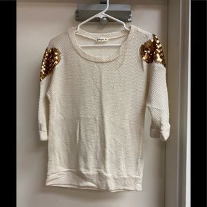 Honeycomb weave sweater with sequin sleeve